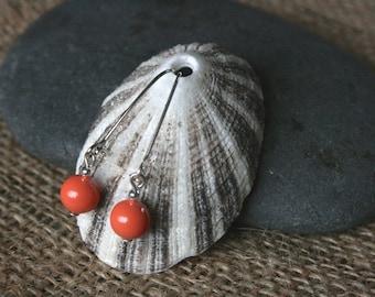 Shabbona earrings, pearl earrings, orange earrings, bright earrings, dangle earrings, summer trends, June birthstone jewelry