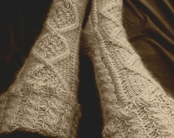 Fold Over Cable Knit Knee High Slipper Socks