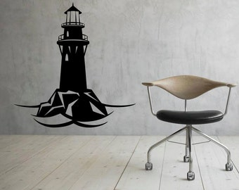 Lighthouse Wall Decal Wall Vinyl Sticker Nautical Ocean Home Interior Removable Bedroom Decor (3lhs)