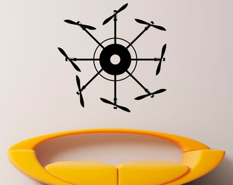 Drone Wall Decal Wall Vinyl Sticker UAV Home Interior Removable Bedroom Decor (1drn)