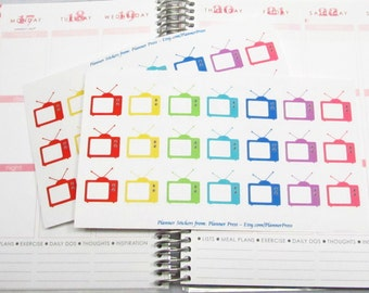 Rainbow TV  Reminder Planning Stickers Fit Your EC Life Planner TV/Movie Planning Stickers 1645