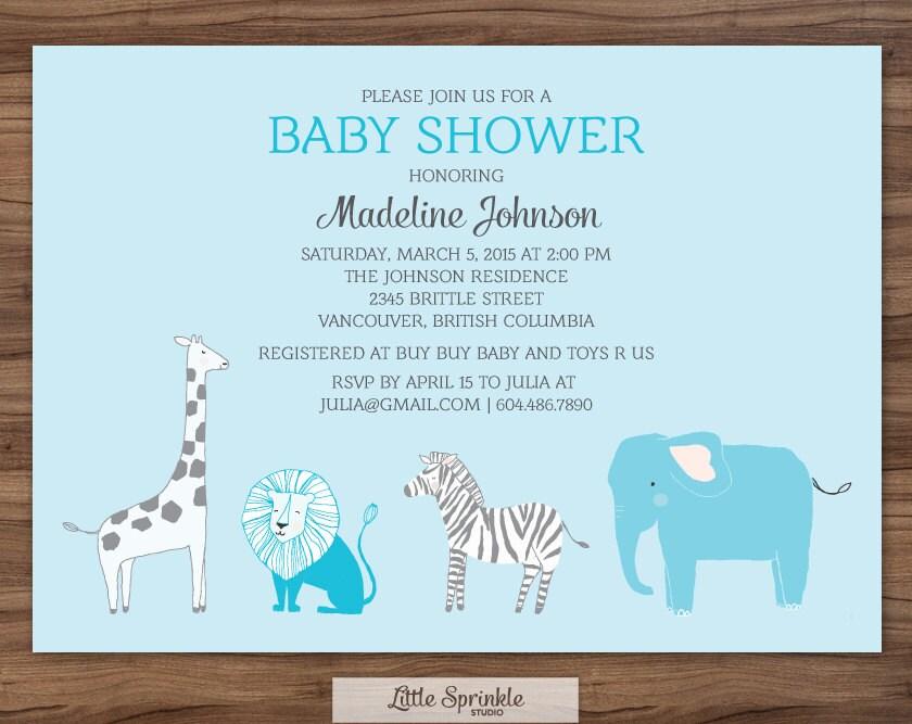 blue baby boy shower invitation safari zoo by littlesprinklestudio