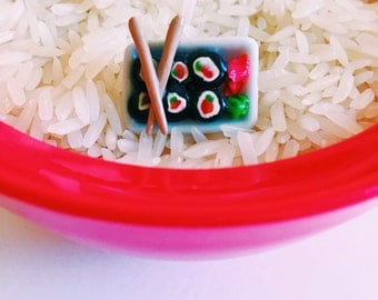 Sushi Statement Ring Miniature Food Jewelry Polymer Clay