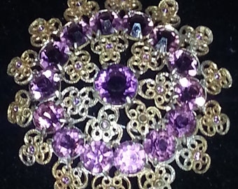 Antique  Brooch/Pendent Purple Stones with Fine Detailed Filigree