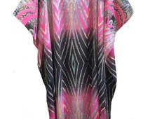 15013 Ladies Chiffon Fuschia with Multi-colour Specific Printed Polyester Woven Long Kaftan. One Size Fit All:- UK 10-32.