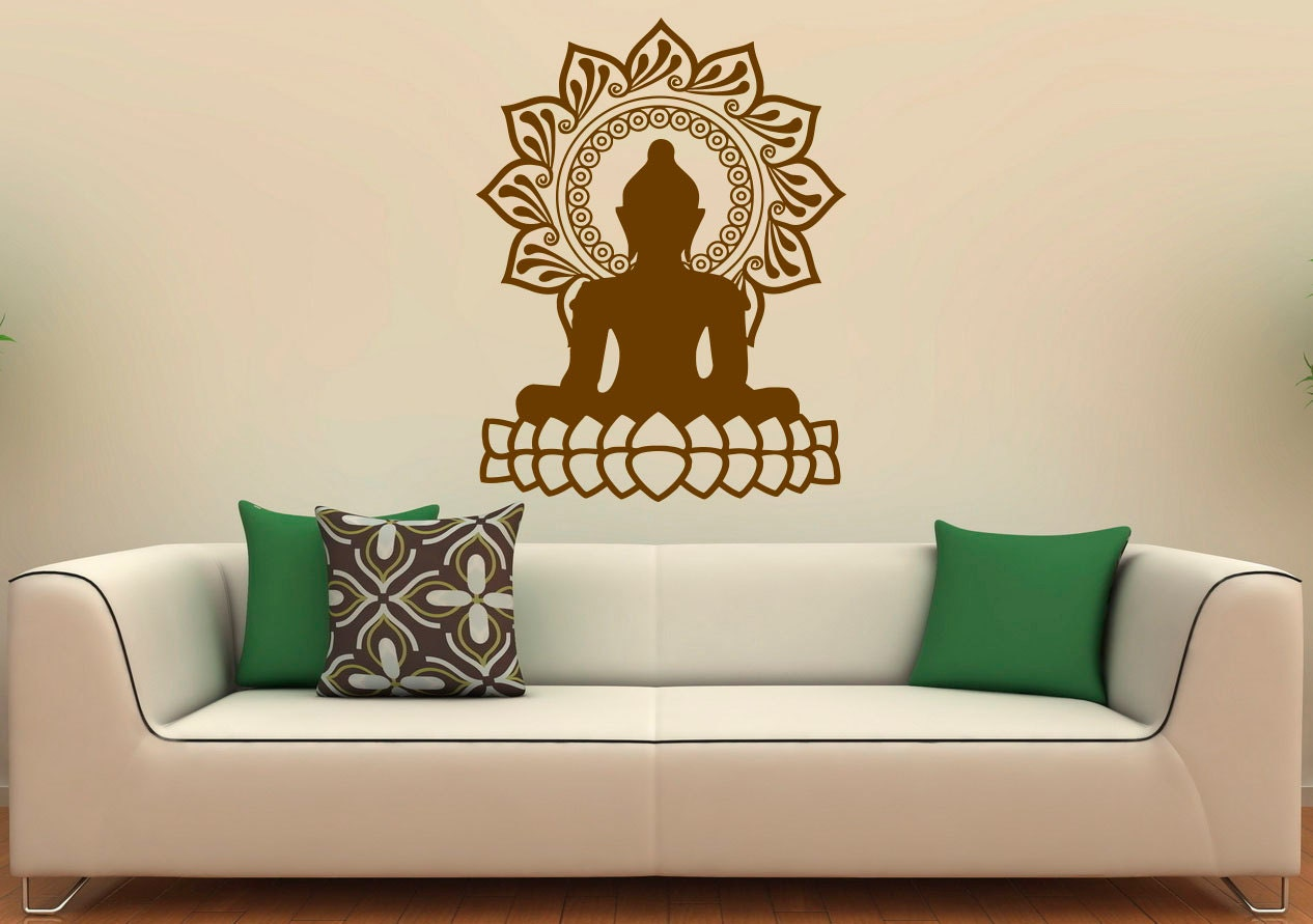 Buddha wall decal indian design lotus flower vinyl stickers zoom amipublicfo Gallery