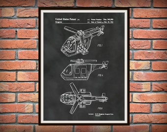 Patent 1994 Lego Helicopter - Wall Art Print -Game Patent -Toy Building Brick Patent for Child - Childrens Room Art