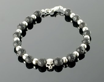 Mens beaded bracelets - Mens bracelets beads with black gemstones: onyx, lava, silver plated skull beads and 20 colors to choose!
