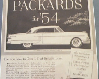 1954 Packard Car Ad Matted Vintage Print