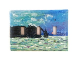 Monet light switch - Claude Monet - Etretat - Hand painted triple switch plate - ocean switch plate - Light Switch Cover
