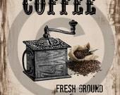 Primitive Digital Art- COFFEE - Jar Logo- Pantry Label - Crock- Transfer -Instant Printable Label JPEG File Instant Download
