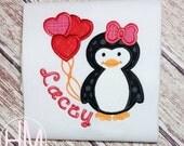 Penguin Applique-Valentines Day Shirt