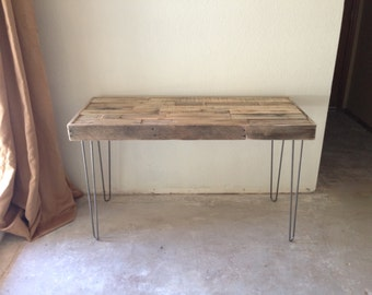 vintage mid century steel hairpin leg console accent sofa entryway enty hall work table desk server stand modern industrial furniture beach