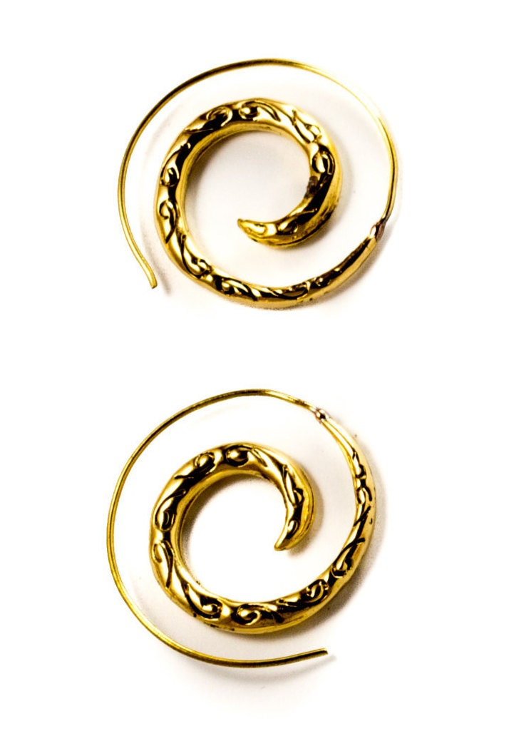 tribal spiral hoop earrings made from brass by wabisabis