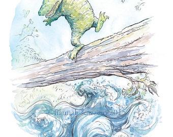 Children's Watercolor Illustration Crocodile Crossing