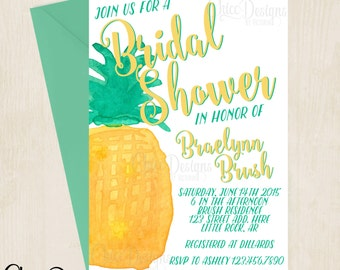 Pineapple - Watercolor - Tropical - Bridal Shower Invitation - Digital/Printable File