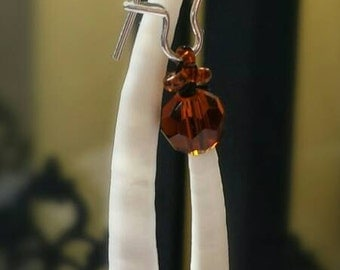 Handmade Sienna colored glass beaded Dentalium Shell Earrings