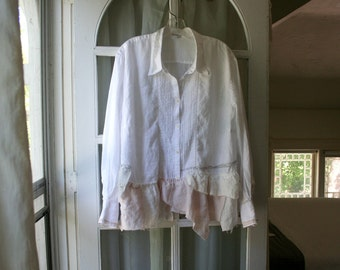 Bohemian Shirt / Repurposed Blouse / - by Breathe-Again Clothing
