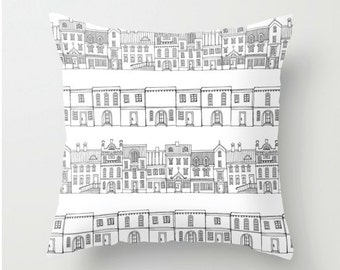 Decorative Pillow Cover, house pillow cover, black and white Cushion cover, Decorative Pillow nursery