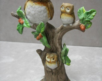 Horned Owl Family in a Tree, Mama and 2 Chicks, Porcelain, Handpainted