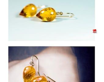 18K Citrine Pointy Drop Earrings 14K, Faceted Yellow Citrine Earrings, 18K Solid Gold Citrine Earrings,18K Gold Leverback Earrings 14K
