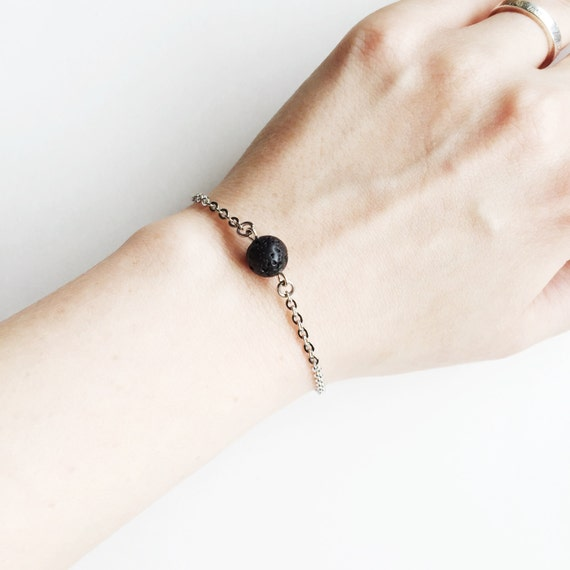 Minimal Single Lava Bead Essential Oil Diffuser Bracelet