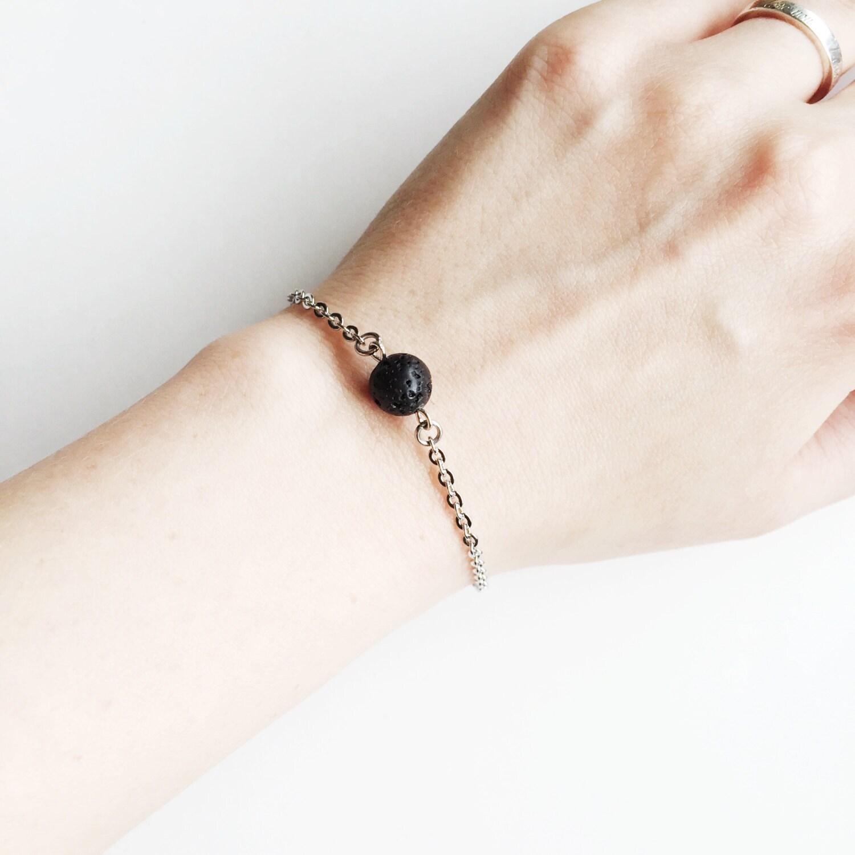 Minimal Single Lava Bead Essential Oil Diffuser Bracelet
