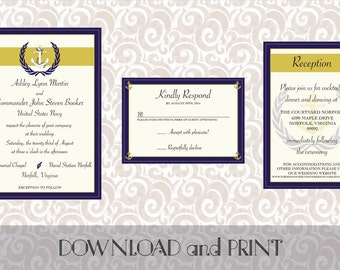 Printable Navy/Military Themed Wedding Invitation, RSVP Card and Reception/Info Card