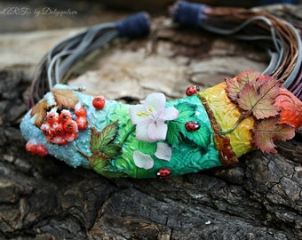 """Polymer clay necklace """"4 seasons"""" -  Jewelry - gift for her  - Christmas gift - Rainbow jewelry - polymer clay jewelry - ladybugs - Floral"""