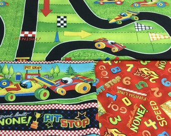 Race Day...Wilmington Prints..Green Red Black...Race Cars..RaceTrack...Boys Quilt Panel..Border Print..