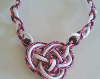 Nautical Paracord Rope Necklace in Pink, Navy and White with Anchor Charm