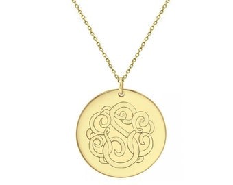 Disc Monogram Necklace , 1.5 in 18k Gold plated Personalized Monogram choose any initial made with 925 silver