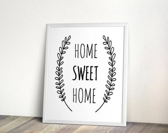 Home sweet Home, 2sizes, instant download, Minimal Printable, Digital, wall art, printable, black and white, printable art, printable file