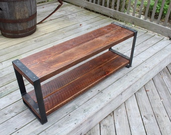 Industrial bench, Reclaimed wood bench, Wood and metal, Entertainment  center, Console,