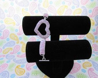 Heart Shaped Pink Seed Beaded Bracelet, Valentine Bracelet, Love Bracelet, Valentine Jewelry, Heart Bracelet, Charm Bracelet, Handmade Heart