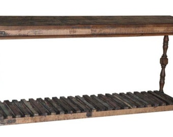 Rescued,reclaimed and reinvented wood console table, hand-carved detailing, made in India