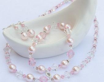 Pink Bridesmaid Jewelry Pink Jewelry Set Pink Crystal Pink Pearl Jewelry Set Pearl Pink 2 Piece Rose Quartz Wedding Jewelry