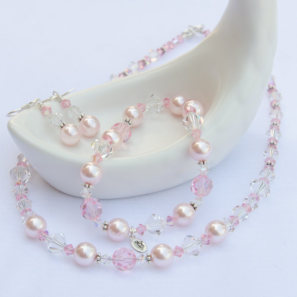 Pink bridesmaid jewelry pink jewelry set pink crystal pink for Pink wedding jewelry sets