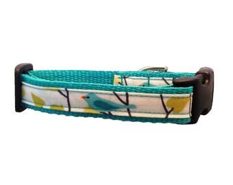 Blue Birdie Buckle Dog Collar