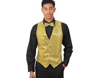Men's Gold Sequins Vest