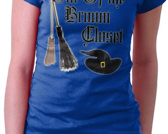 Funny Witty Wicca Witch Pagan Magic Pun Out of the Broom Closet  T Shirt Mens Ladies Broom PAGAN PRIDE