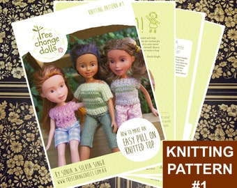 Tree Change Dolls® Knitting Pattern #1, Easy Pull On Knitted Top, by Sonia and Silvia Singh