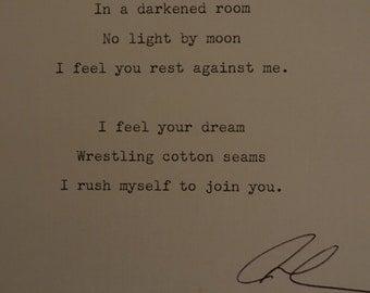 Dream by J.K.Dolman. Original. Handmade. Poem. Poetry. Typed. Love. Romantic. Print. Work. Letter. Type. Poem.