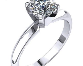 0.76 ct Diamond Engagement Ring Solid 14K White Gold Solitare