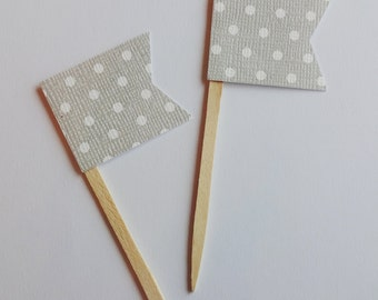Grey and White Dot Mini Flag Cupcake Toppers