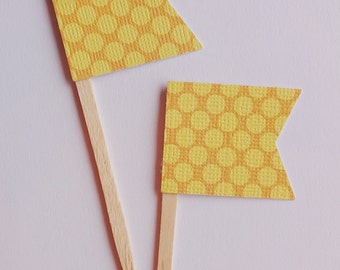 Mustard and Light Yellow Dot Mini Flag Cupcake Toppers