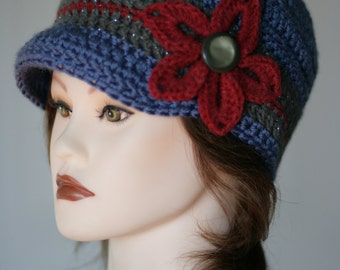 Loving Prayer Hat (colors by request, made to order) Crochet Newsboy Brim or Beanie