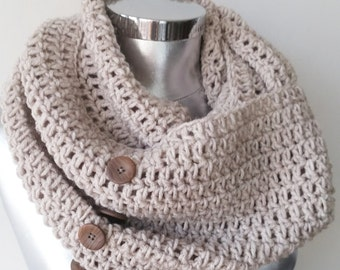 Knit button scarf infinity scarf circle scarf winter scarf chunky knit cowl women's accessory fashion scarves