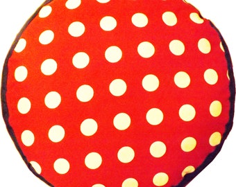 Red and White Spotty Dog Bed with Denium