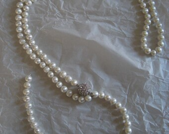 Cintura perle e swarosky. Swarosky belt - freshwater and Swarosky closure. Size cm 118
